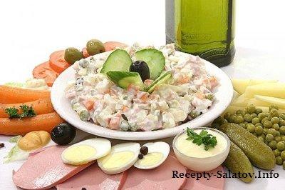 Салат оливье с грибами