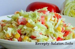 Нежный салат из пекинской капусты с крабовыми палочками