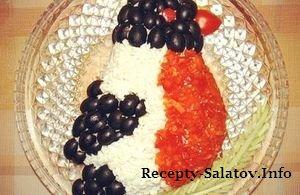 Новогодний салат Снегирь