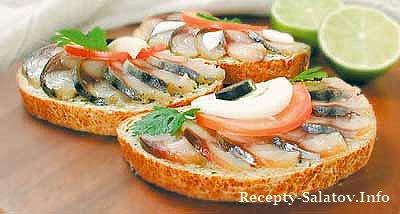 Бутерброд с рыбой горячего копчения-рецепт