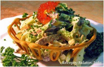 Салат с мясом и красной икрой / Meat Salad