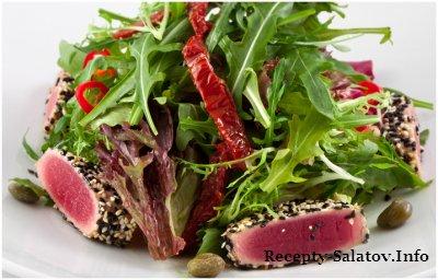 Салат с тунцом в кунжуте рецепт