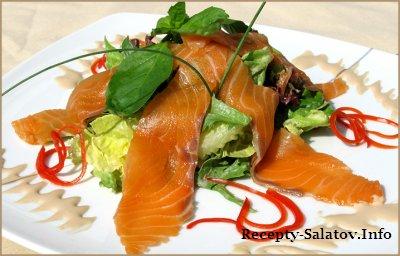 Салат с копченой семгой -рецепт