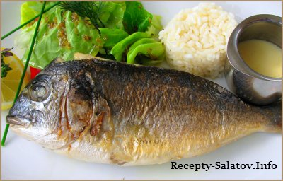 Карась Дорадо на гриле с рисом, овощами и соусом Бер Блан