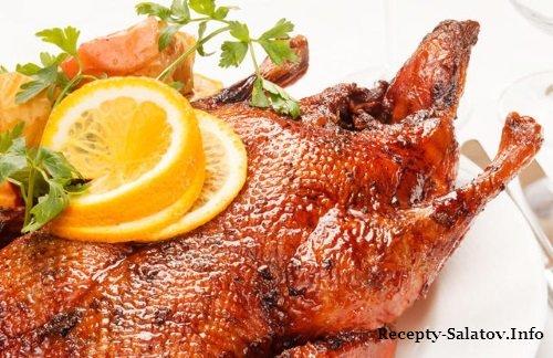утка фаршированная лимоном и овощами рецепт