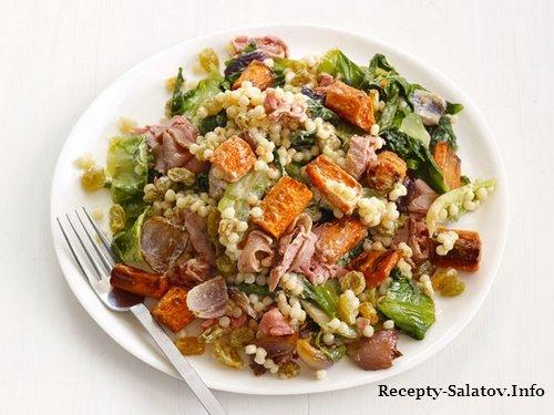 Образец подачи блюда - Теплый салат из ростбифа с кускусом