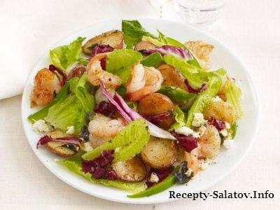 Салат с креветками запечённых в духовке  с картофелем и перцем.