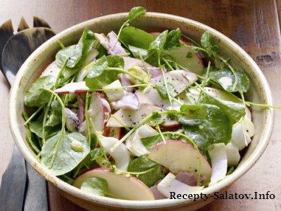 Салат с яблоками и ветчиной