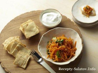 Молодежный пикантный морковный салат  с пита-чипсами