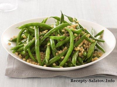 Летний теплый салатик с зеленой фасолью и пшеницей