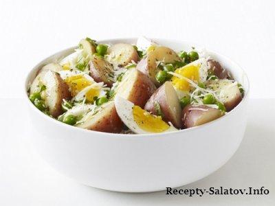Салат летний вареный картофель с яйцами