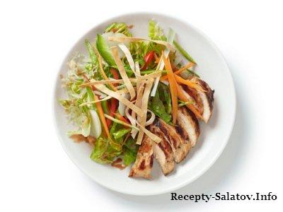Салат из курицы по-азиатски с вишнево-ореховой заправкой