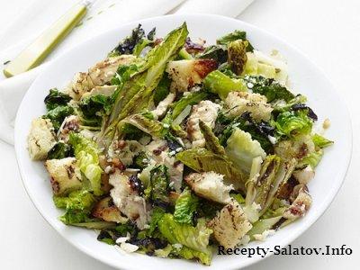 Гриль салат из курицы фокачча и салата ромэн с заправкой цезарь