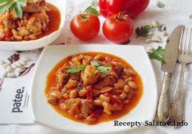 Обжаренное мясо свинины зеленой фасолью и соусом Сычуань
