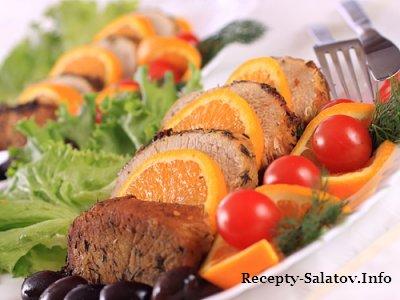 Нежная сочная свиная отбивная с апельсинами -рецепт