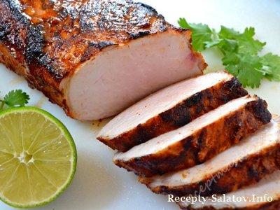 Маринована свиная корейка сок лайма запеченная в духовке