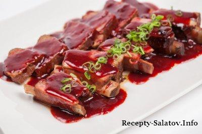Свиные ребрышки виски и клюква -рецепт ресторана