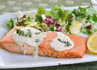 Сочное филе лосося под маринадом с салатом