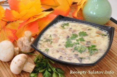Рецепт грибного супа с сыром