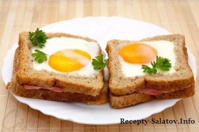 Горячие бутерброды с ветчиной и яйцом
