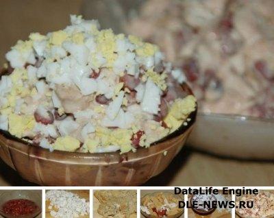 Салат с куриным филе и красной фасолью