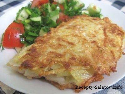 Нежная жаренная рыба треска в картофельной корочке