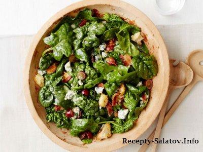 Овощные салаты с беконом и роскошного голубого сыра