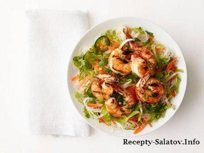 Салат с креветками-гриль и лапшой из риса