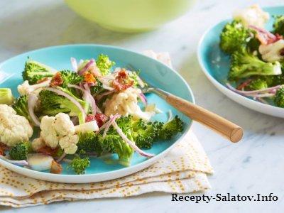 Очень вкусный летный салат из брокколи и цветной капусты
