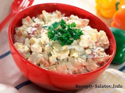Картофельный салат со свежей зеленью и белого вина