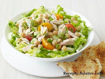 Средиземноморский салат с тунцом из нута и томатов и зелени
