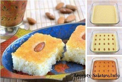 Басбуса -  нежный рассыпчатый пирог пропитанный сиропом