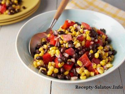 Летний вкусный и очень калорийный салатик с фасолью и кукурузой