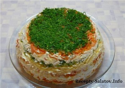 Сочный слоеный салат с курицей и картофелем