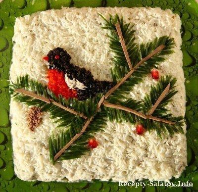 Праздничный салат Снегирь из горбуши