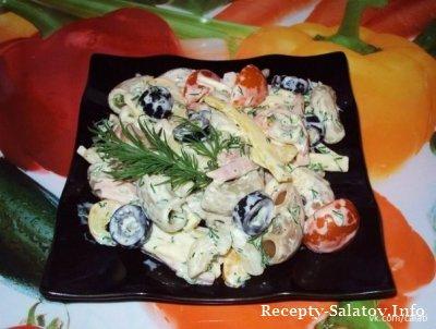Итальянский салат с ветчиной и сыром