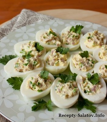Новогодние закуски  Яйца фаршированные ветчиной