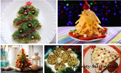 Необычные блюда в стиле елочки на новогоднем столе