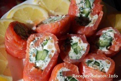 Топ 6 рецептов закусочные рулеты из красно рыбы
