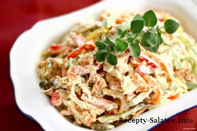 Классический салат курица грибами болгарский перец