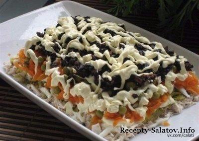 Салат по домашнему с черносливом и курицей
