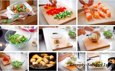 Салат с кусочками семги в оливковом масле