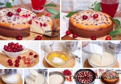 Вкусный вишневый пирог на кифире