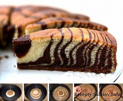 Пирог Зебра из какао и сметаны