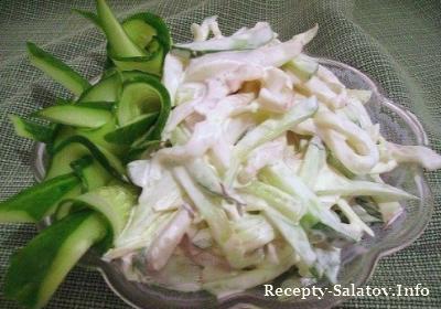 Салат из кальмаров и вареных яиц