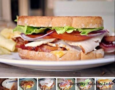 Рецепт клубного сандвича с жинкой сыром и помидорами