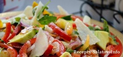 Салат с рукколой авокадо перцем и пармезаном