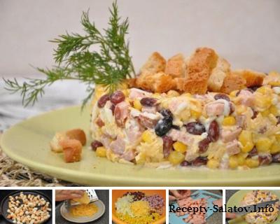 Салат с корейкой и чесночными сухариками
