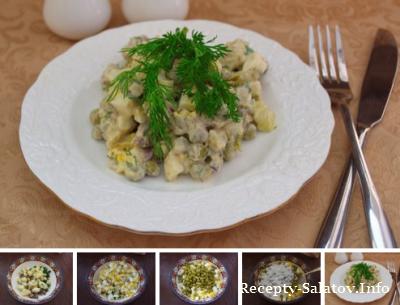 Салат с печенью и сыром