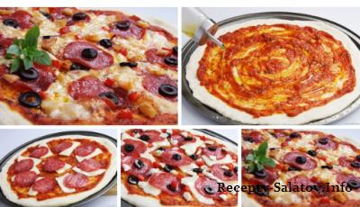 Рецепт тонкой пиццы с колбасой